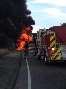 truck fire, high way, i-80