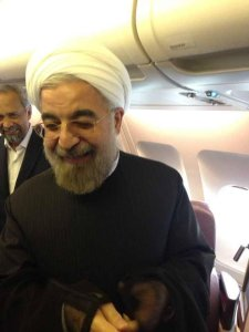 Iran's President Rouhani after speaking with President Obama