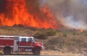 Fire burns along I-5