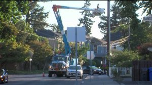 PG&E crews work to restore power to tens of thousands of people in Napa and Sonoma Counties.