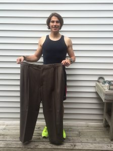 In February 2013, Mazzetti joined a local gym and started focusing on maintaining his weight rather than losing it. Here, he shows off his size 48 pants from 2012. Courtesy: CNN