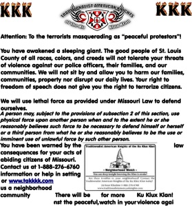 A flier released by the KKK