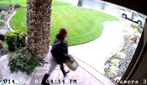 Home surveillance video caught a package thief in the act. Courtesy: Stockton Police