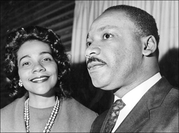 OSLO, NORWAY:  Coretta Scott King and her husband Martin Luther King 09 December 1964 in Oslo where the US clergyman and civil rights leader received 10 December the Nobel Peace Prize. Martin Luther King was assassinated on 04 April 1968 in Memphis, Tennessee. James Earl Ray confessed to shooting King and was sentenced to 99 years in prison. King's killing sent shock waves through American society at the time, and is still regarded as a landmark event in recent US history. (Photo credit should read AFP/Getty Images)