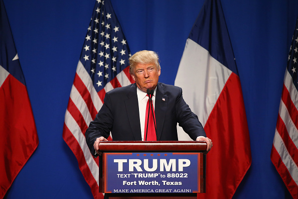 Republican presidential candidate Donald Trump speaks at a rally at the Fort Worth Convention Center on February 26, 2016 in Fort Worth, Texas. Trump is campaigning in Texas, days ahead of the Super Tuesday primary.