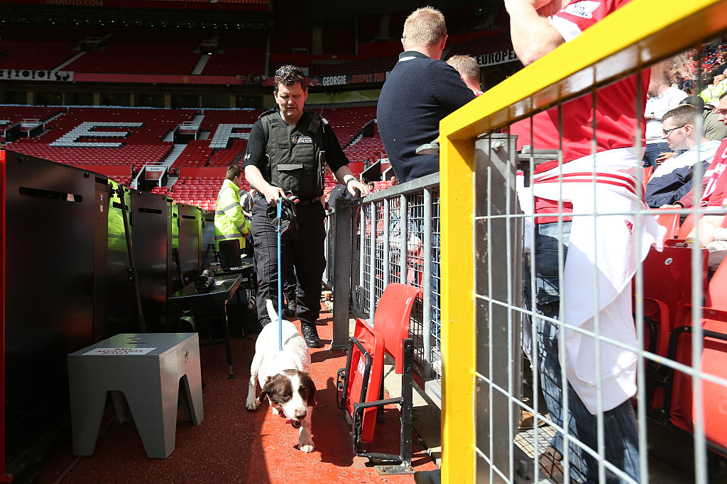 A sniffer dog patrols after fans were evacuated from the ground prior to the Barclays Premier League match between Manchester United and AFC Bournemouth at Old Trafford on May 15, 2016 in Manchester, England. (Photo by Alex Morton/Getty Images)