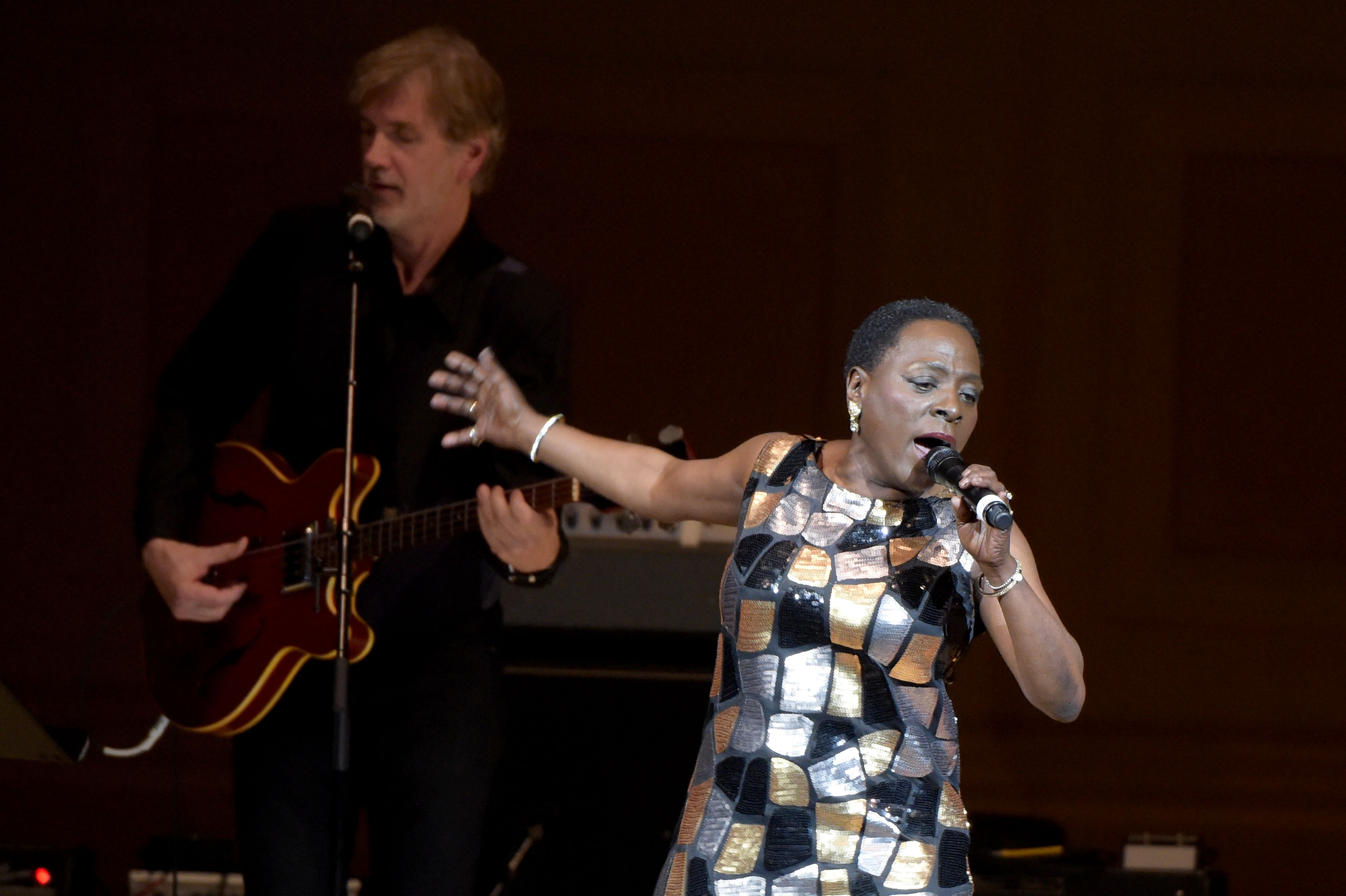 Singer Sharon Jones performs onstage at the 26th Annual Tibet House U.S. benefit concert at Carnegie Hall on February 22, 2016 in New York City.  (Photo by Theo Wargo/Getty Images for Tibet House)
