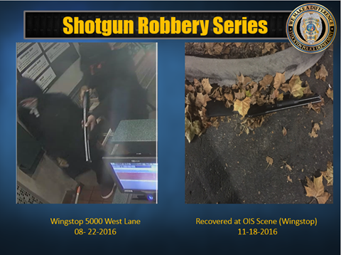 Two of the suspects during the time of the robbery and the recovered shotgun. (Courtesy: Stockton Police Department)