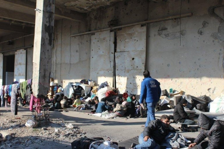 UN Refugee Agency shelter for East Aleppo, Syria is displaced.