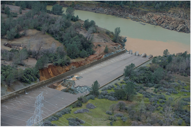 DWR continues to assess the concrete erosion on the Oroville Dam spillway. No imminent threat to the dam or public. (Photo Courtesy: CA - DWR)