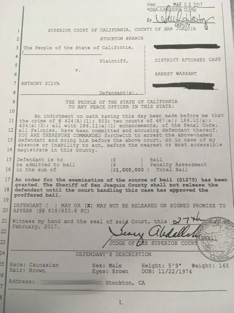 FOX40 has obtained a copy of Silva's arrest warrant. Click to enlarge.