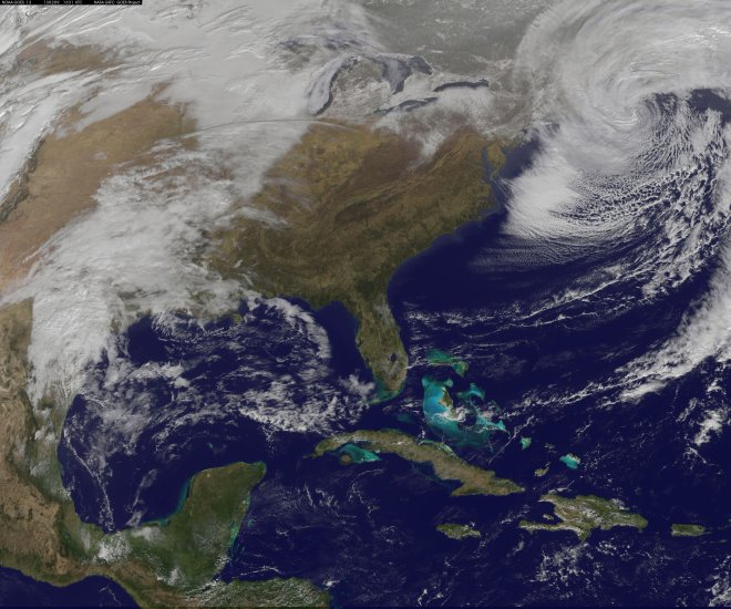 NOAA GOES 13 satellite captures the snowstorm that is pummeling New England Saturday morning, February 9, 2013 at 11:31AM EST. The National Weather Service says on the major winter storm that has brought more than two feet of snow strong winds across parts of the Northeast and New England continues to impact the region Saturday morning. Heavy snow, along with strong wind gusts, are expected to continue across much of New England early Saturday morning, before beginning to slowly taper off from west to east later in the morning and into the afternoon.