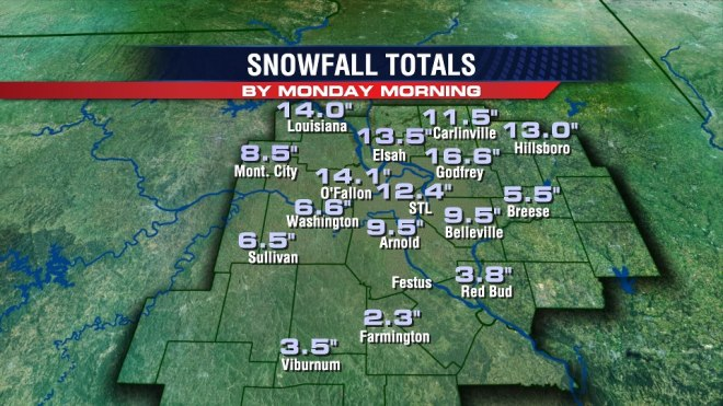 March 24, 2013 snow totals as reported to the NWS St. Louis.