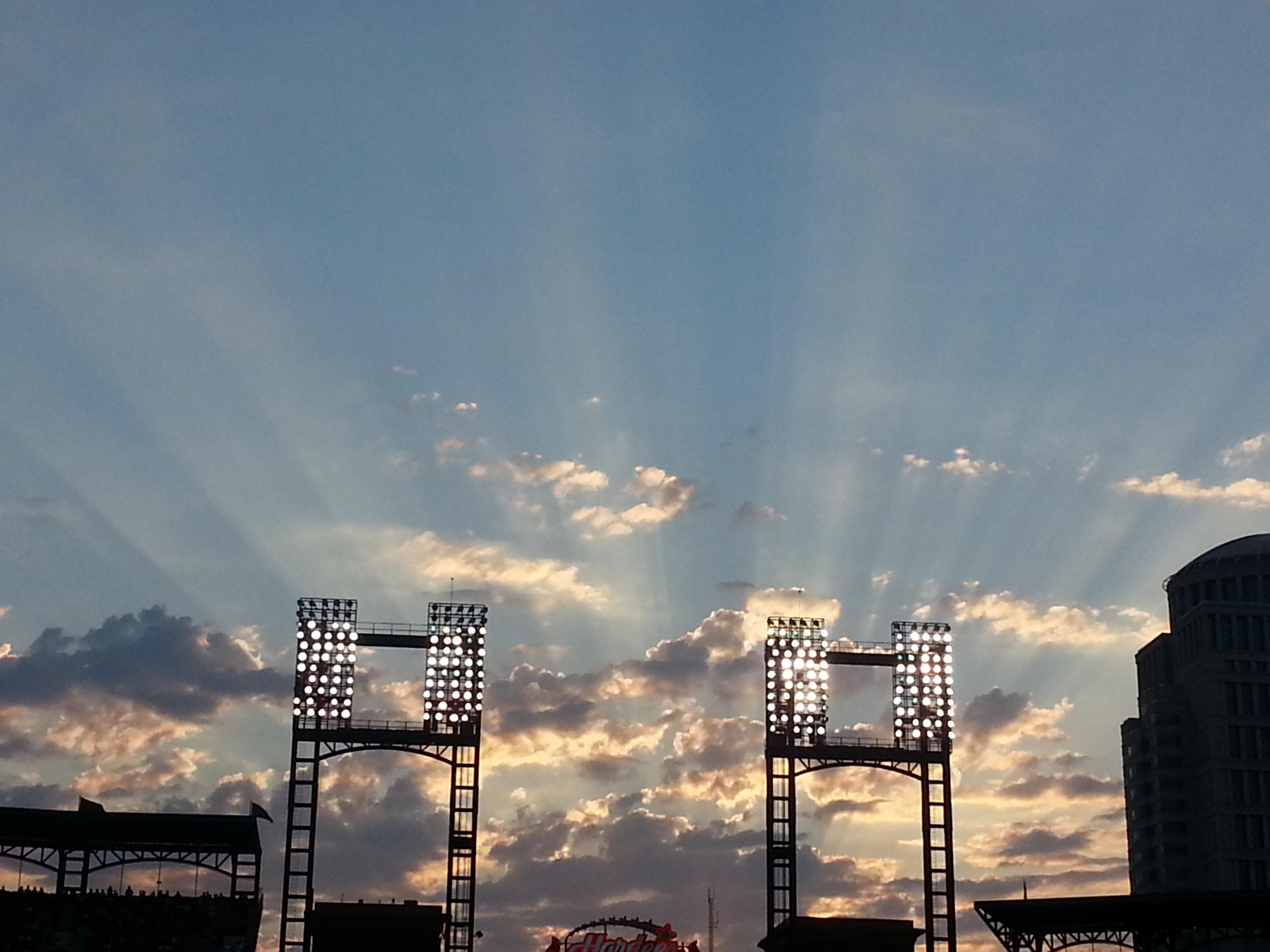Sunset over Busch Stadium