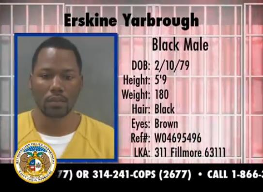 Erskine Yarbrough, 34 years old, 5'9 180lbs. Wanted for burglary 1st degree, possession of burglar tools and stealing over $500.