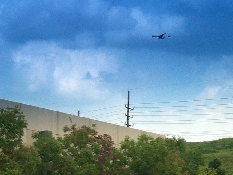 FOX 2 receptionist Natasha Rohlfing took this photo of the airplane as it circled above the Fox 2/KPLR studios in Maryland Heights: