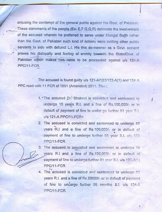 Court order sentencing Dr. Shakeel Afridi