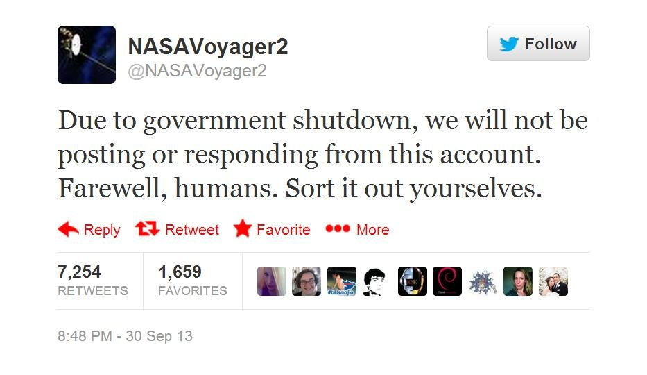 NASA on shutdown: 'Sort it out, humans'