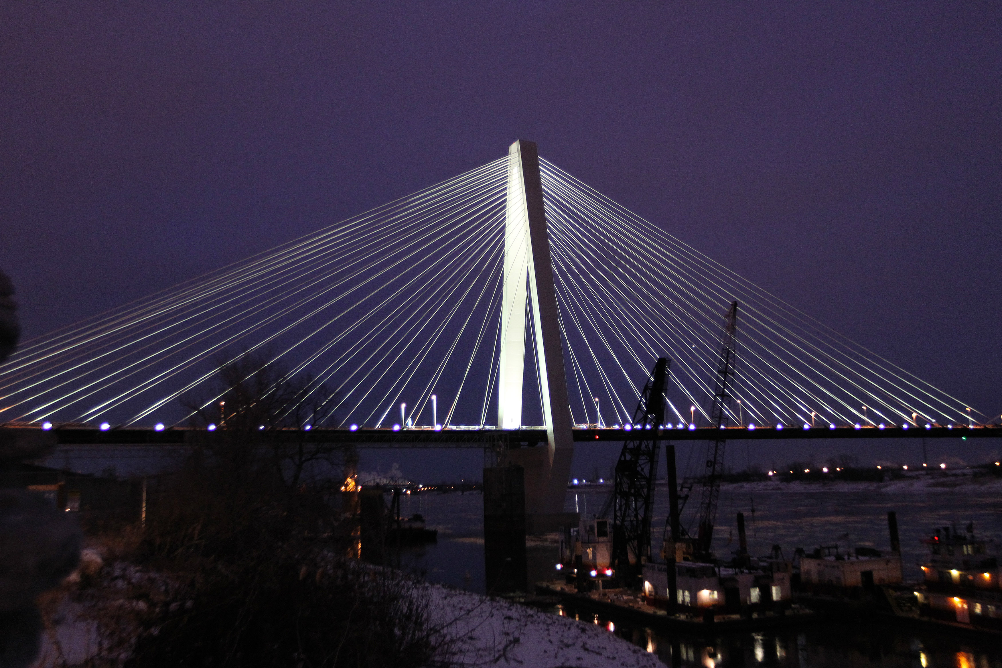 The Missouri span of the Stan Musial Veterans Memorial Bridge is lit for the first time as lights are switched on at dusk in St. Louis on February 7, 2014. The Musial Bridge, named after the late St. Louis Cardinals and National Baseball Hall of Fame member Stan Musial, will officially open to trafic on February 7, 2014 after four years of construction. UPI/Bill Greenblatt