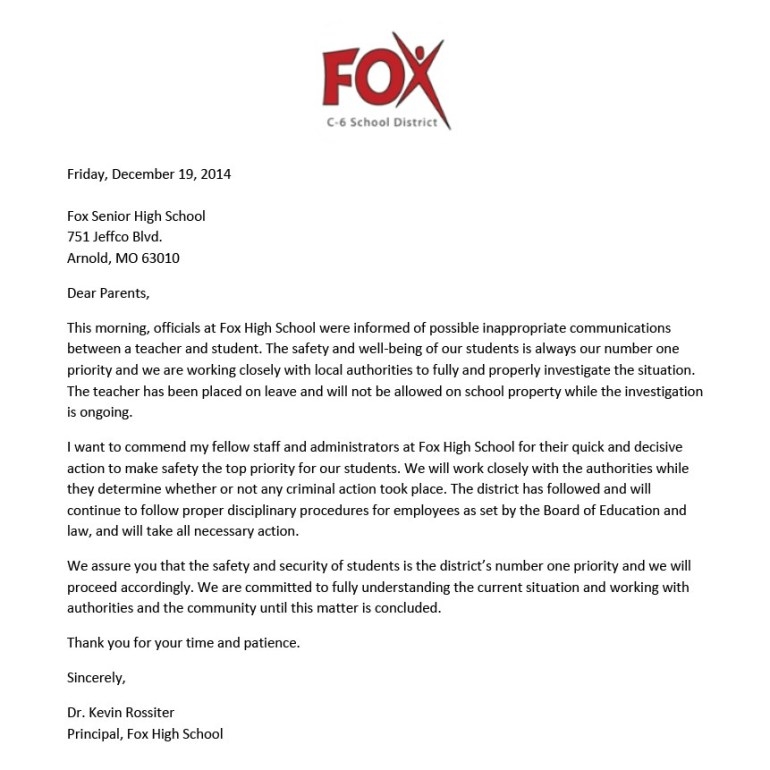 Fox High School Letter 121914