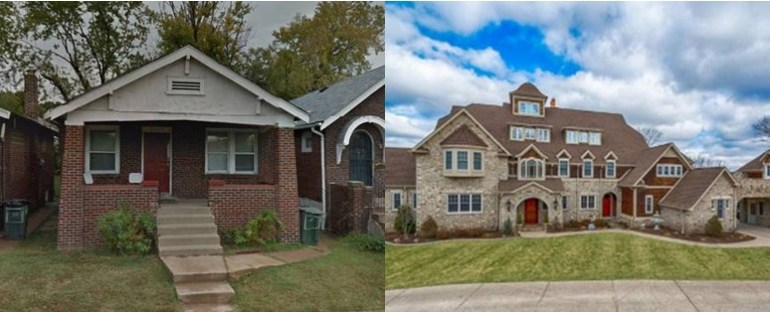 """Lakresha Slaughter's last residence (left).  The $4.7 million Chesterfield home she claimed to own (right)."""" width=""""300"""" height=""""150"""" /> Lakresha Slaughter's last residence (left). The $4.7 million Chesterfield home she claimed to own (right)"""
