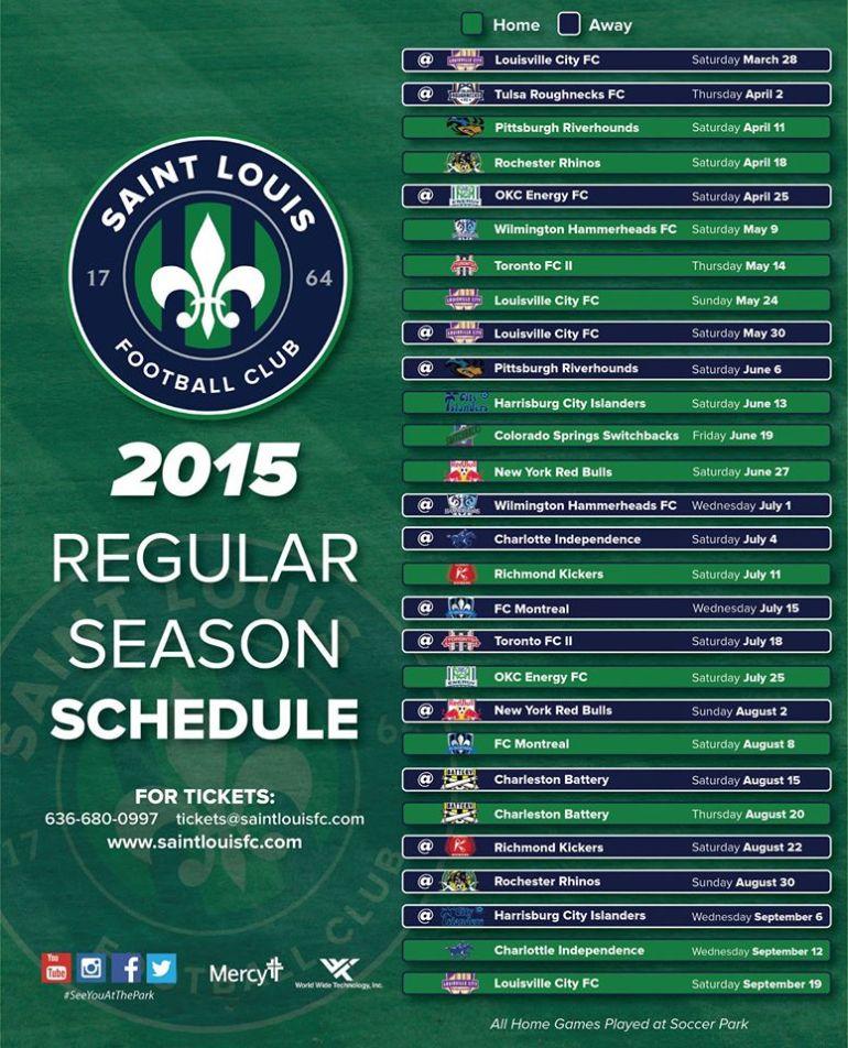 STL FC 2015 Inaugural Season Schedule