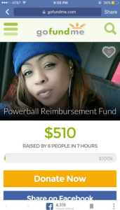 This Powerball reimbursement fund showed up on GoFundMe after the record jackpot went to people in Los Angeles, Florida and Tennessee. (GoFundMe)