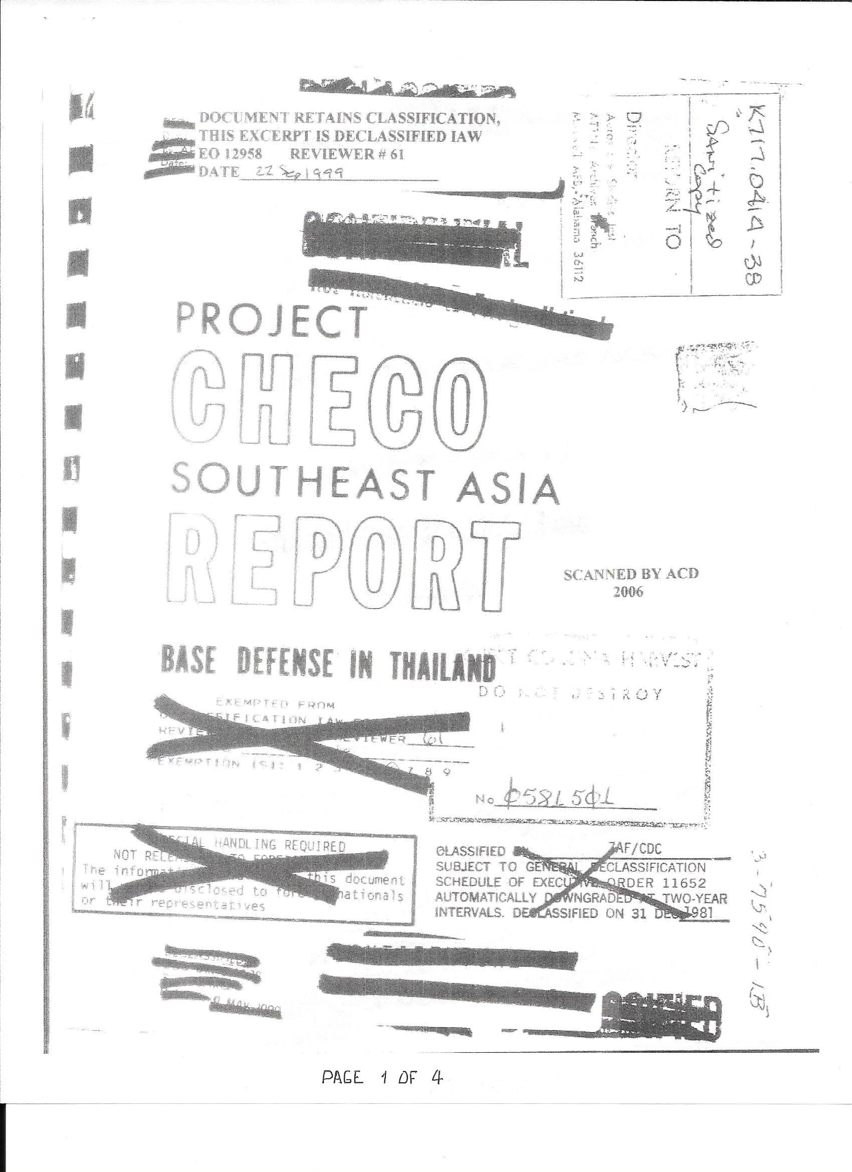 CHECO Report, Base Defense in Thailand, page 1 of 4