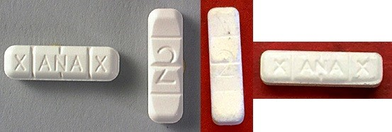 "Counterfeit ""Xanax"" on red background. Real Xanax on grey background. Photo: San Francisco Department of Public Health"