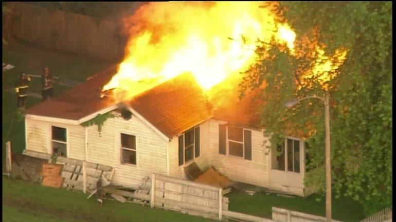 Vacant home burns in Washington Park, IL