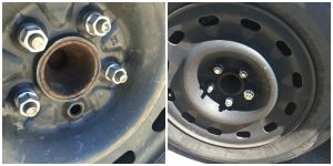 """""""These uninsured police cars have missing lug nuts on tires. One is missing an entire post."""""""