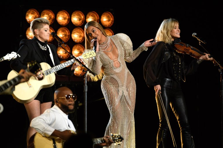 Beyonce at the 50th Annual CMA Awards, hosted by Brad Paisley and Carrie Underwood, broadcast live from the Bridgestone Arena in Nashville, Wednesday, November 2.