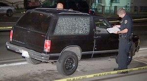 SUV Riddled by Gunfire