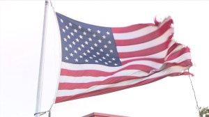 america flag waving, windy