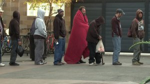 homeless lines at shelter