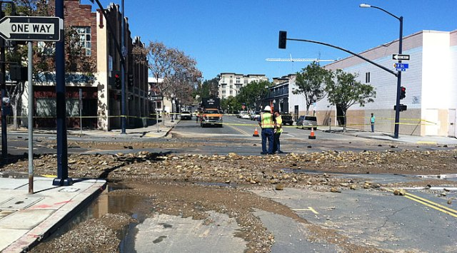 Water main bursts Downtown