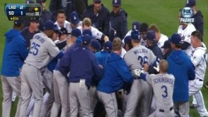 RAW: Padres, Dodgers Brawl After Batter's Hit By Pitch