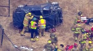 Car crashes off Highway 52