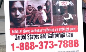 human trafficking sign