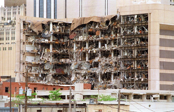 The north side of the Albert P. Murrah Federal Building in Oklahoma City on April 19, 1995.  (Getty Images)
