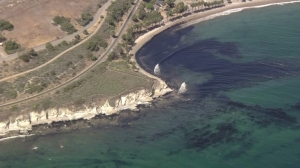 Authorities were responding to an oil slick in the ocean off Refugio State Beach in Santa Barbara County on May 19, 2015. (Credit: KTLA)