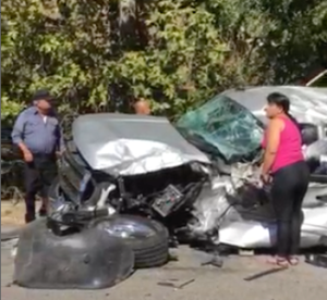 Car involved in crash with big rig