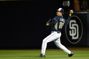 Actor Will Ferrell plays right field for the San Diego Padres as they take on the Los Angeles Dodgers as part of a new HBO special from Funny Or Die in partnership with Major League Baseball to support the fight against cancer at Peoria Stadium on March 12, 2015 in Peoria, Arizona. (Photo by Lisa Blumenfeld/Getty Images)