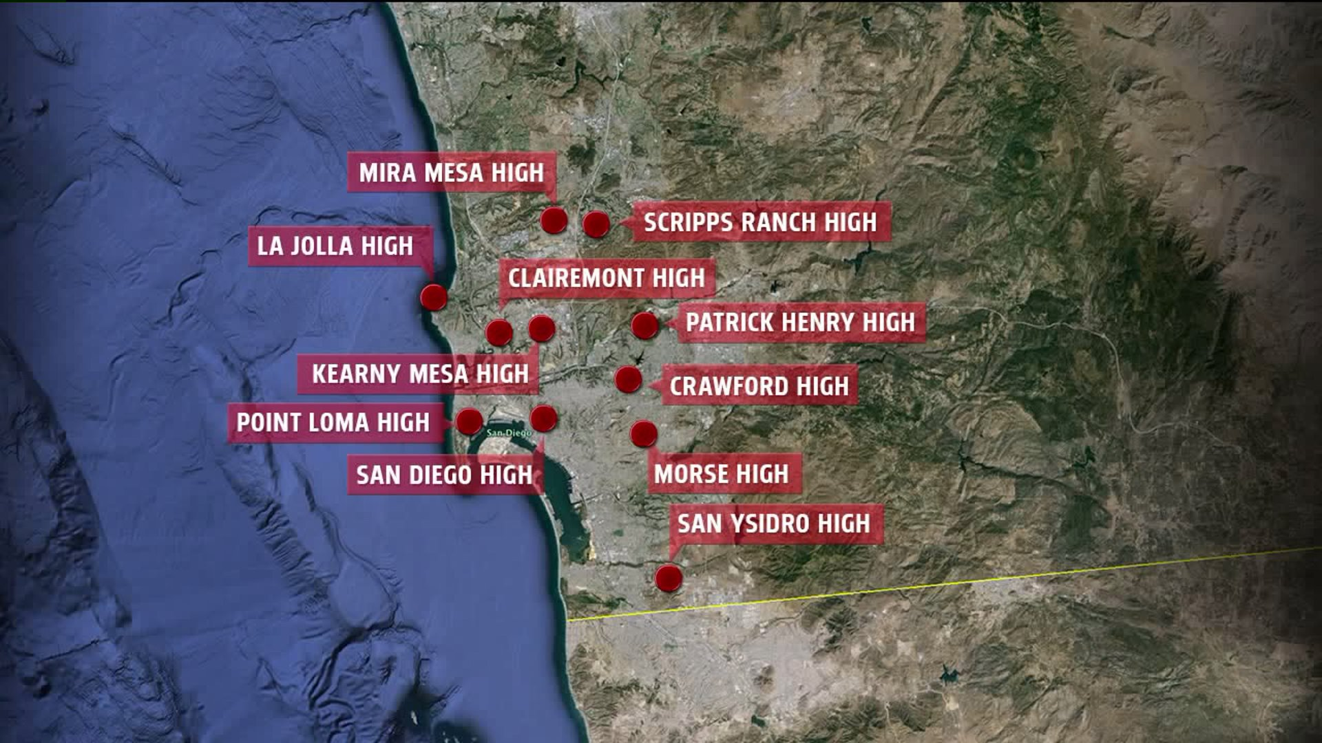 Map of San Diego schools locked down due to phoned-in threats on Sept. 17, 2015.