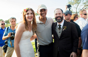 The day a San Diego bride and groom met President Obama at The Lodge at Torrey Pines. (Credit: The Youngrens)