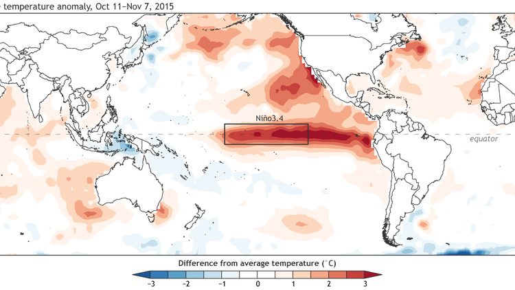 The average sea-surface temperature departure from the average over the four weeks ending on Nov. 7, 2015. Graphic by NOAA / climate.gov. (NOAA / Climate.gov)
