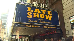 Fans line up outside the Ed Sullivan Theater in New York, New York, ahead of David Letterman's last show on Wednesday, May 20, 2015.