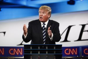 Donald Trump appears on stage at the CNN Republican Presidential Debate in Simi Valley, California on September 16, 2015.