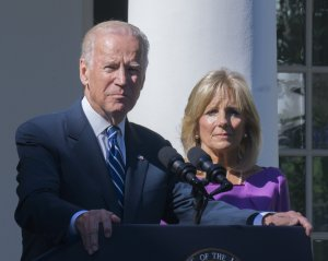 Vice President Joe Biden announces that he won't be running for president of the United States in the White House Rose Garden. His wife Jill Biden stands beside him.
