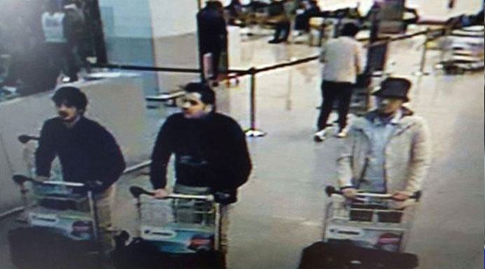 Belgian federal police released a picture of suspects in the attacks at Brussels Airport.